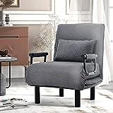 Sofá cama convertible con respaldo ajustable en 6 posiciones, sillón plegable con cojín acolchado, para el tiempo libre, para el hogar, la oficina (gris)