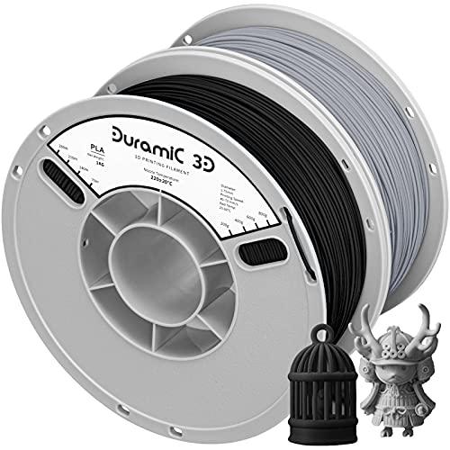 PLA Filament 1.75mm, Duramic 3D Black Gray PLA Filament 1kg, Fit FDM 3D Printer, Dimensional Accuracy +/- 0.05 mm, Matte PLA Black Gray 2 Pack