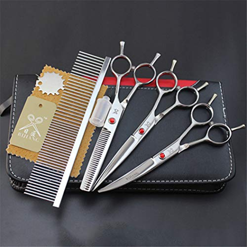 Professional 6.0/7.0 Inch Hairdressing Scissors Set Pet Grooming Cutting Premium Steel Kit Straight & Thinning & Curved Shears Comb 4 Pcs Set for Cat Dog And More Pets Clean Hair Tool(Silver White),5.