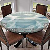 """Elastic Edged Polyester Fitted Table Cover,Balcony in the Sky with Angel Statues Princess Castle Victorian Style Architecture,Fits up 45""""-56"""" Diameter Tables,The Ultimate Protection for Your Table,Blu"""