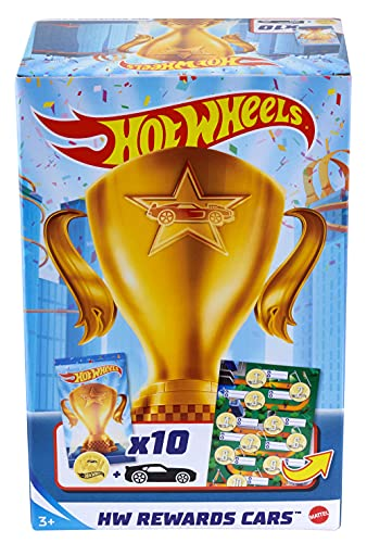 Hot Wheels Rewards Car Pack of 10 Individually Wrapped 1:64 Scale Die-Cast Vehicles in Opaque Bags with Gold Stickers, Rewards or Prizes for Kids 3 Years Old & Up