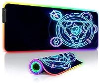 ゲーミングマウスパッド 黒XXLラージRGBマウスパッド耐久性のあるラップトップLEDゲーマーアニメ魔法陣キーボードマットゲーマー用DOTA35.4x15.7インチ