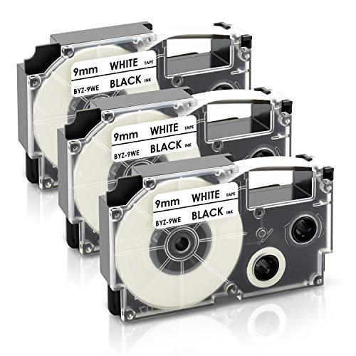 3x UniPlus Compatibile per Casio XR-9WE XR-9WE1 Nero su Bianco 9mm x 8m Nastro per Casio KL-60 KL-120 KL-820 KL-60SR KL-70E KL-100 KL-200 KL-300 CW-L300 KL-430 KL-C500 Etichettatrice