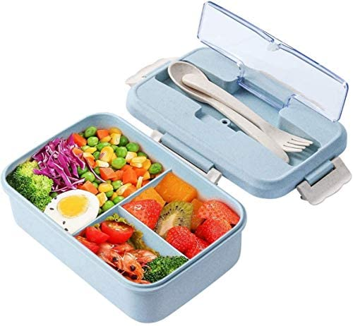Lunch Box 3 Compartment Sealed Bento Box and Cutlery Set Lunch Boxes for Kid Adult Work School product image