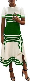 JUTOO Damen Kleid Streifendruck Kurzarm Freizeitkleid Damen Rundhals Midi Kleid Party Kleider