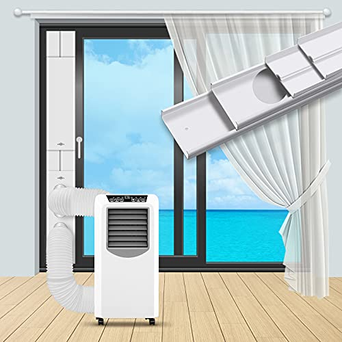 INOMO Portable Air Conditioner Two Flat-Mouth Sliding Door Kit with Two Universal Coupler Adapter, Upgraded Seamless Adjustable Sliding AC Vent Kit for Ducting Exhaust Hose of 5.1 Inches/5.9Inches