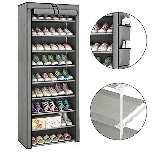KingSaid 10 Schichten Schuhregal Grau Schuhschrank Vliesstoff Edelstahl für Wohnzimmer Flur