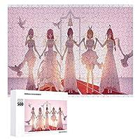 典型的な花嫁大人と子供のためのジグソーおもちゃファッションデコレーション人気のアニメーションかわいい製品木製パズルチャレンジファミリーゲーム500ピース