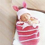 Apoyos de la Foto del Bebé Ropa Hecha a Mano de Lana Conejito Dormir de los niños del Bolso Fotografía de la Ropa del bebé de los Cien Días de Fotos (Color : Pink, Size : One Size)