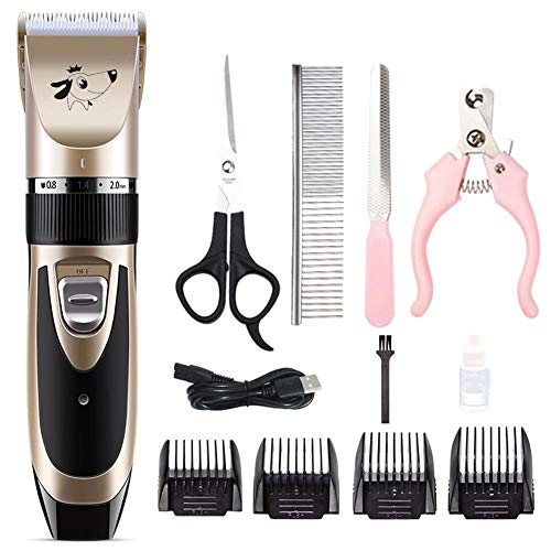 Hond Kat Professional Pet elektrisch scheerapparaat set tondeuse Dierlijke Grooming Clippers Cutter Machine Scissor, Rose Gold