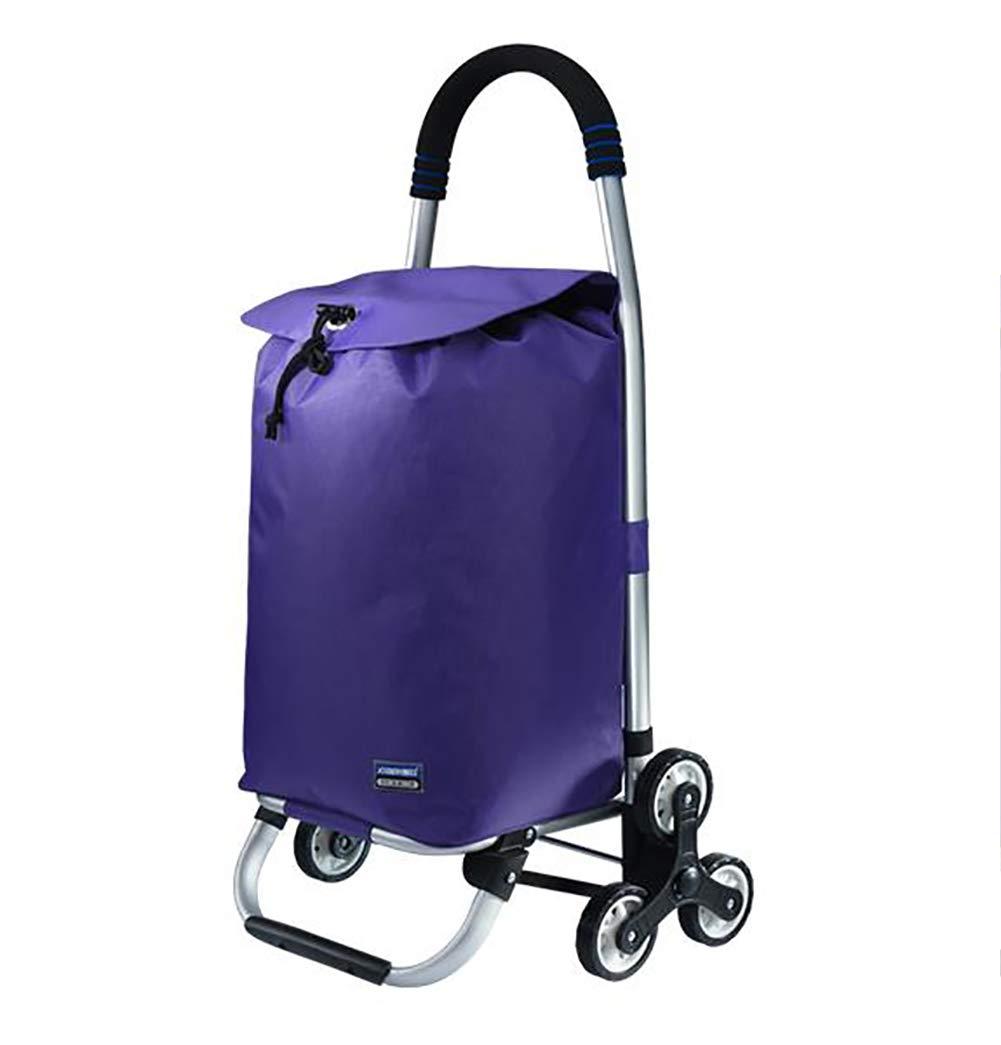 TX Carro de la Compra de 6 Ruedas Grandes aleación de Aluminio Subir Las Escalera de carros para Personas Mayores, Bolsa Impermeable de poliéster,Purple: Amazon.es: Deportes y aire libre