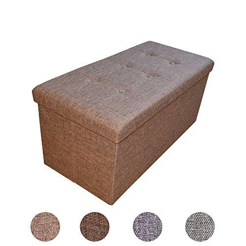 Style home Sitzbank Sitzhocker Faltbare Aufbewahrungsbox Sitzwürfel Fußbank Fußablage Hocker belastbar bis 300 kg, Farbauswahl Größenauswahl 2676-12-Braun (Leinen)