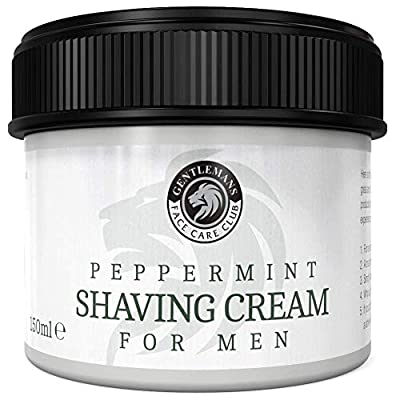 Peppermint Shave Cream - Highest Quality Shaving Cream From Gentlemans Face Care Club - Extra Large 150ml Pot With 'Easy Grip' Lid + 100% Money Back Satisfaction Guarantee from Gentlemans Face Care Club