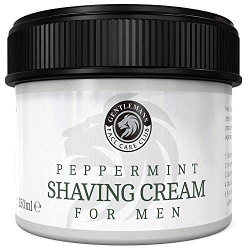 Shaving Cream For Men - Vegan Friendly Peppermint Shave Cream From Gentlemans Face Care Club - Extra Large 150ml Pot With 'Easy Grip' Lid + 100% Satisfaction Guarantee