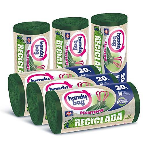 Handy Bag 20 L Basura 20L, 90% Reciclado, Extra Resistentes,