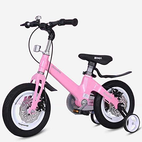 FYLY-12 Bicicleta Infantil para Niños y Niñas de 2 A 4 Años, Ajustable Aleación de Magnesio Bici con Frenos de Doble Disco y Ruedines de Entrenamiento, para Niños Juguete Al Aire Libre,Rosado