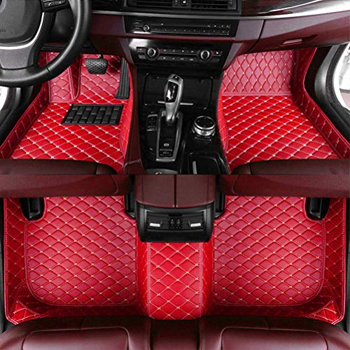 8X-SPEED Custom Car Floor Mats for Mini Cooper 2014-2018 2-Doors Full Coverage All Weather Protection Waterproof Non-Slip Leather Liner Set red