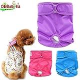 OHBABYKA犬用オムツ生理パンツ サニタリーパンツ マナーパンツ 犬服おしめ ペット服3枚SET (M, 無地)