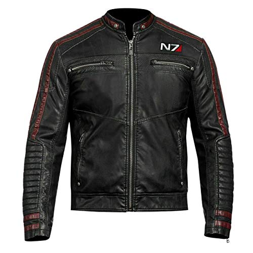 Leather Icon Herren N7 Street Fighter Motorrad Schwarze Lederjacke im Biker-Stil (3XL)