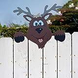 Hetangyuese 2 piezas de decoración navideña con diseño de alce de Papá Noel, para valla de parque, exterior, decoración de Navidad, colgante para el hogar, decoración de árbol de Navidad (1 pieza)