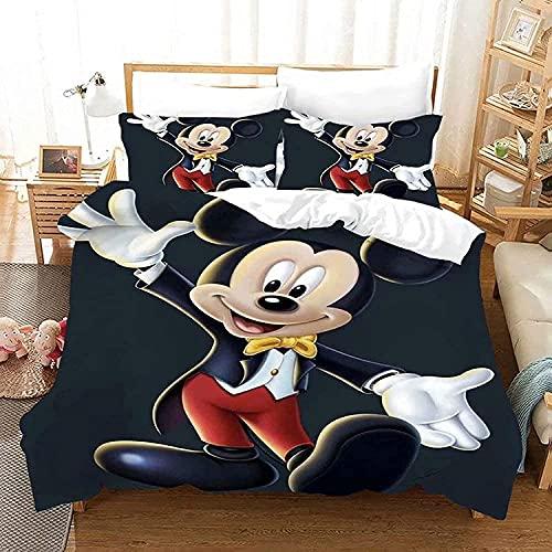 WANGHU Juego de ropa de cama Mickey Mouse, supersuave y cómodo, regalo para niños, sin relleno (A03,135 x 200 cm + 50 x 75 cm x 2)