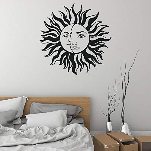 HGFDHG Calcomanía de Pared de Sol y Luna, decoración del hogar, Dormitorio, decoración del hogar, Pegatina de Vinilo para Pared, Mural de Cara Creativa, Arte de Pared de Sol