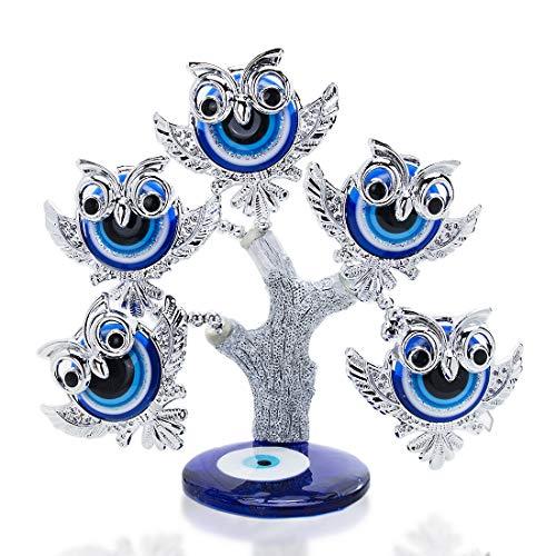YU FENG Turco Azul Malvado Ojo Figuritas Lucky Money y Mal de Ojo Árbol Estatua Decoración Para El Hogar Adornos