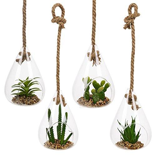 Set von 4aus Glas zum Aufhängen Künstliche Pflanzen