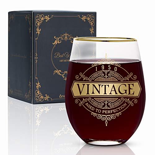 Onebttl 70. urodziny dla kobiet i mężczyzn - 530 ml kieliszek do wina - dekoracja na urodziny 1950 - pomysły na 70 rocznicę dla niej, mamy, taty, męża, żony, babci, dziadka - vintage 1950