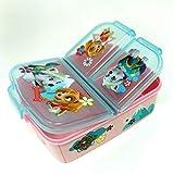 Paw Patrol Girls Kinder Brotdose mit 3 Fächern, Kids Lunchbox,Bento Brotbox für Kinder - ideal für Schule, Kindergarten oder Freizeit