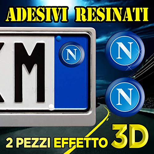 N.2 Adesivi compatibile con Targa Auto & Moto NAPOLI CALCIO - Bollino resinato effetto 3D