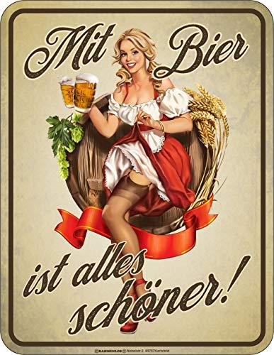 RAHMENLOS Deko Blechschild für Biertrinker - Mit Bier ist Alles schöner