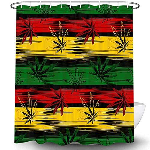 Duschvorhang mit Marihuana-Blättermuster, Reggae-Rasta-Batik-Optik, Jamaika-Design, Polyester-Stoff, Badzubehör, Gardinen mit 12 Haken, 174 x 178 cm