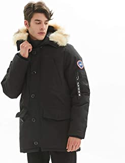 PUREMSX Men's Down Alternative Jacket Insulated Expedition Mountain Thicken Lined Fur Hooded Long Anorak Parka Padded Coat,Black,XX-Large