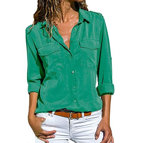 UJUNAOR Damenhemd Mode Frauen Revers Top Bluse Solide Herbst Casual Langarm Shirt XXXXXL(Grün,EU XS/CN S)
