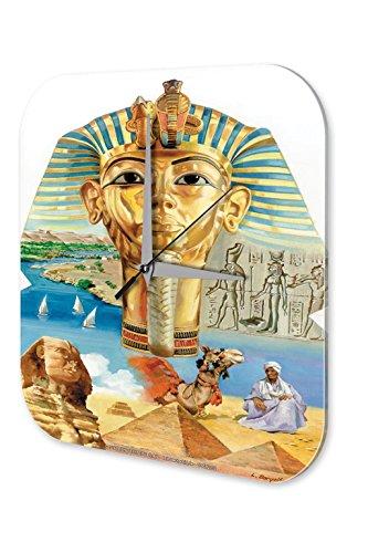 leotie Fashion&Lifestyle Orologio da Parete Antico Egitto Marke Faraone Sphinx Geroglifici Piramide Deserto Decorazione 25x25 cm