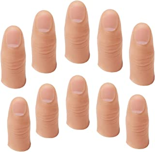 OUERMAMA 10 Pcs Soft Finger Thumb Tips 2 Sizes Fake Soft Thumb Cover Prank Toy for Making Objects Appear/Disappear Plastic Finger Magic Tricks