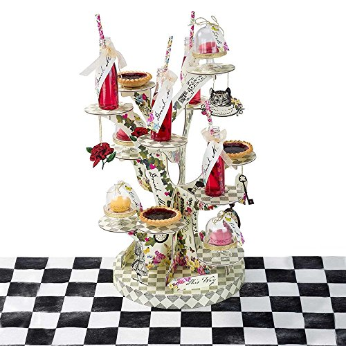 Talking Tables TSALICE-TREATSTAND Alice In Wonderland Cupcake Stand Centerpiece Mad Hatter Tea Party, Treat, Mixed colors