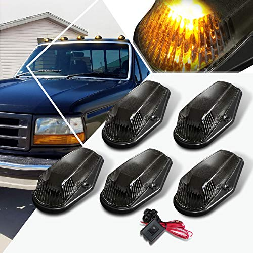 5Pcs-Set Yellow LED Cab Roof Running Light w/Switch Compatible with 80-96 F150/F250/F350,Top Marker Light Smoked Housing