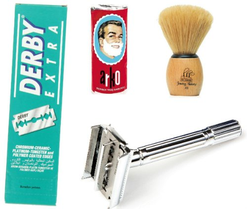 Shaving Factory SF289 Double Edge Safety Razor/Shaving Factory Hand Made Shaving Brush XS Arko Shaving Soap and Derby Extra Double Edge Razor Blades Gift Set for Men