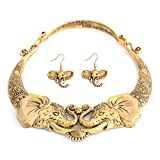 Shop LC Delivering Joy Tribal Gold Boho Handmade Elephant Necklace Earrings Fashion Jewelry Set for Women Stainless Steel 16'
