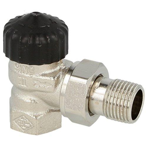HEIMEIER Thermostatventil, Standard Eckform, DN 15 (R 1/2), Rotguss vernickelt