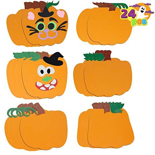 24Pcs Kit de Arte y Artesanía Calabaza de Espuma de Halloween Pegatinas para Decoración de Fiesta de Halloween