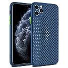 Yesun K Simple para iPhone 11 Pro X XR Xs Max (11 Pro, 5,8 pulgadas), color de contraste transpirable de malla de disipación de calor, lente hueca trasera todo incluido (azul real, iPhone X/XS)