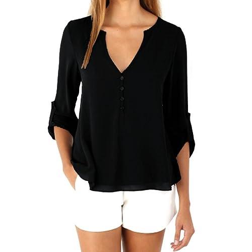 900b98640d Women s Casual Button Down Shirt Tops 3 4 Cuffed Sleeve V Neck Chiffon  Blouses
