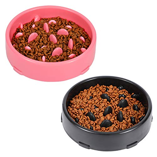 Dog Bowl Slow Eating No Chocking Anti-gulp Bowls for Small Medium Dogs Slower Food Feeding Dishes Eco-Friendly Plastic Bowl Reduce Slip Puzzle Bowl Stop Bloat for Dogs 2 Pack ,C-Black+Pink