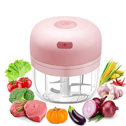 Elektrischer Zerkleinerer, 280 ml, Mini-Zerkleinerer mit 4 Klingen, USB, wiederaufladbar, multifunktional, Mini-Zerkleinerer für Fleisch, Knoblauch, Gemüse, Obst, Zwiebeln, Püree, Babynahrung