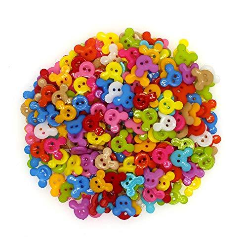 CHWK 50 Piezas de Botones de Costura de plástico Scrapbooking Mickey Mezclado Dos Agujeros de Dibujos Animados 15 X 13mm Costura Botones Decorar P1002