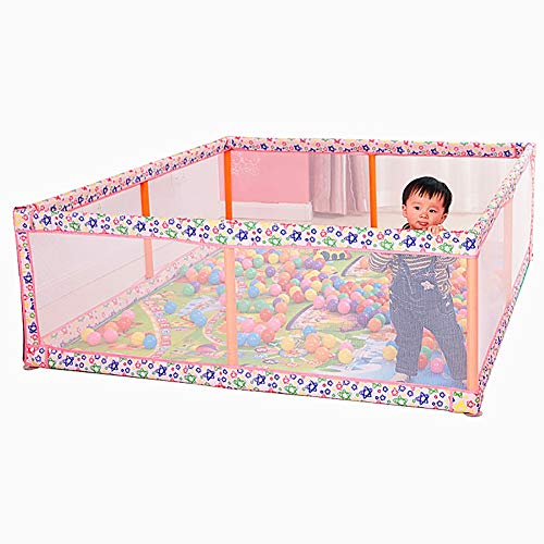 MKJYDM Pink Baby Playpens Playard, Vigilante de Seguridad for niños pequeños Junto a la Cama, 180 × 190 × 60 cm Valla de Juegos para niños