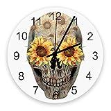 Home Reloj de pared redondo de madera vintage silencioso de 10 pulgadas, calavera retro con girasol, fácil de leer y funciona con pilas, reloj que no hace tictac para oficina / cocina / dormitorio / s